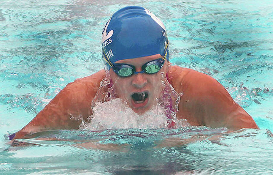 Anna Moehn of the TCAY Tidalwaves was a multiple-event winner at Heartland Area Swim Championships at the Chuck Fruit Aquatic Center over the weekend. A freshman at Cor Jesu High School, Moehn won the 13-14 girls 200-yard individual medley, 200 freestyle , 500 freestyle, 200 freestyle and 100 backstroke. The Tidalwaves won the small-team title and the host EDWY Breakers won the overall championship. Photo: Pete Hayes | The Telegraph