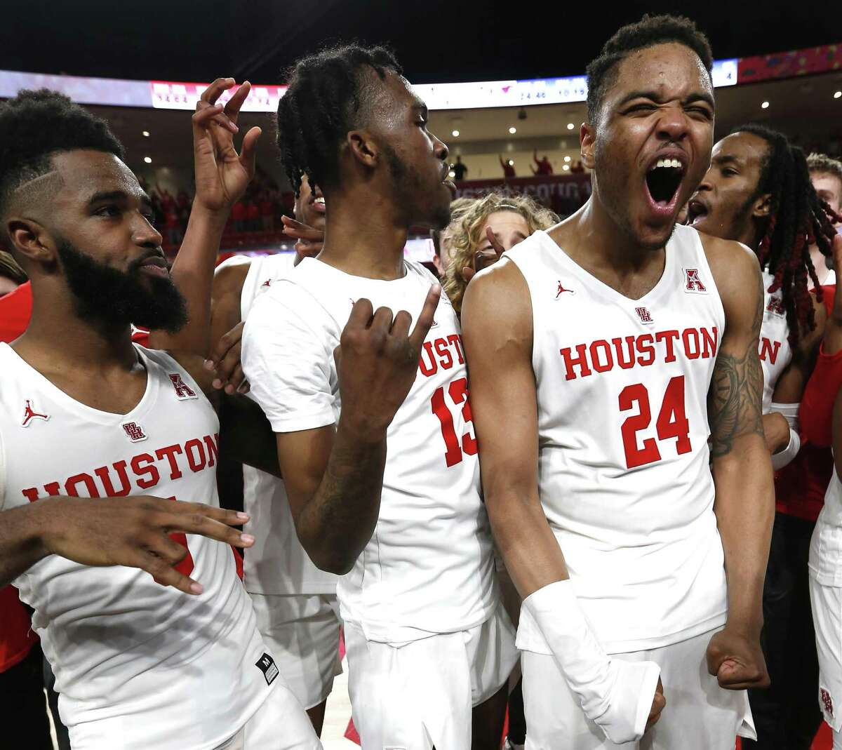 UH's Corey Davis Jr., from left, Dejon Jarreau and Breaon Brady hope their Tulsa time will be a good one. The Cougars begin NCAA Tournament play there against Georgia State at 6:20 p.m. Friday, with the survivor taking on the winner of Iowa State-Ohio State