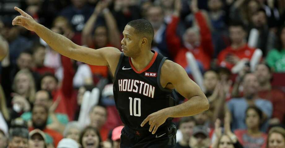 Houston Rockets guard Eric Gordon (10) celebrates after scoring a three-point shot during the fourth quarter of an NBA basketball game at the Toyota Center on Sunday, March 17, 2019, in Houston. Photo: Jon Shapley/Staff Photographer