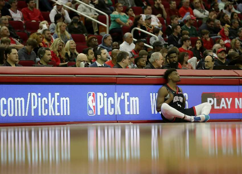 Houston Rockets forward Danuel House Jr. (4) waits to go into the game during the second quarter of an NBA basketball game at the Toyota Center on Sunday, March 17, 2019, in Houston.