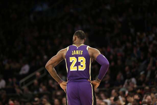 Los Angeles Lakers' LeBron James during the second half of the NBA basketball game against the New York Knicks, Sunday, March 17, 2019, in New York. The Knicks defeated the Lakers 124-123. (AP Photo/Seth Wenig)