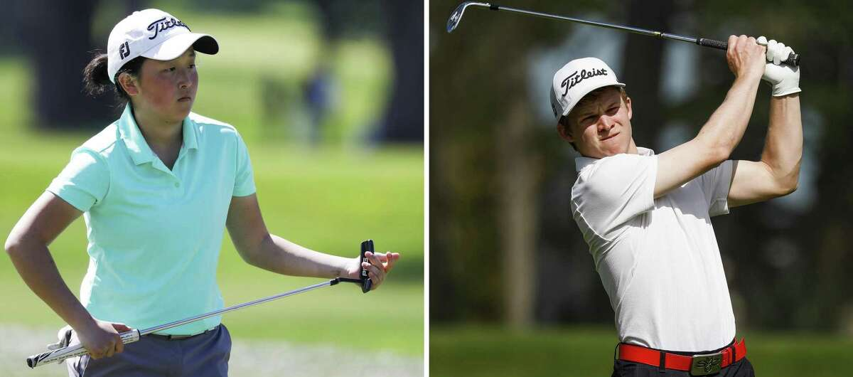 A composite photo of Danielle Suh (left) walking the grounds during the San Francisco City Championship in San Francisco and Evan Peterson (right) taking a shot.