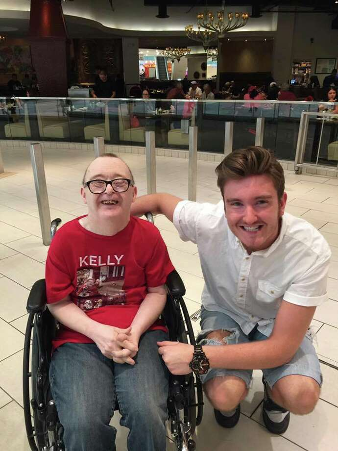 """Dallas author Jordan Burk, right, will be in Midland Thursday to sign copies of his book, """"Kelly & the Great Pinewood Derby."""" The main character – who has Down syndrome -- is based on Burk's late uncle, Kelly Burk, left, who had the genetic disorder. Photo: Courtesy Of Jordan Burk"""
