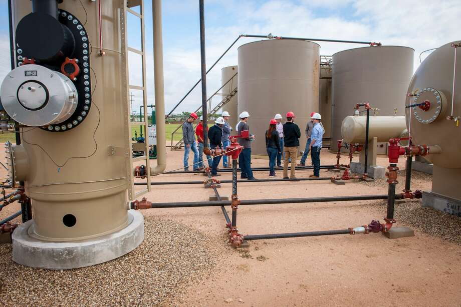 Texas Tech drilled its original 4,000-foot test well at its Oilfield Technology Center in 2001, placing a pumping unit at the site and installing a fully functional tank battery and a simulated natural gas well and related processing facilities. The center offers more hands-on training to its students. Photo: Courtesy Of Texas Tech University