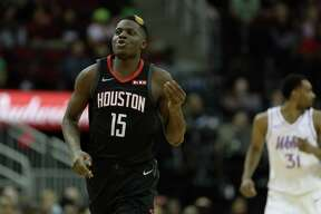 Houston Rockets center Clint Capela (15) celebrates during the fourth quarter of an NBA basketball game at the Toyota Center on Sunday, March 17, 2019, in Houston.