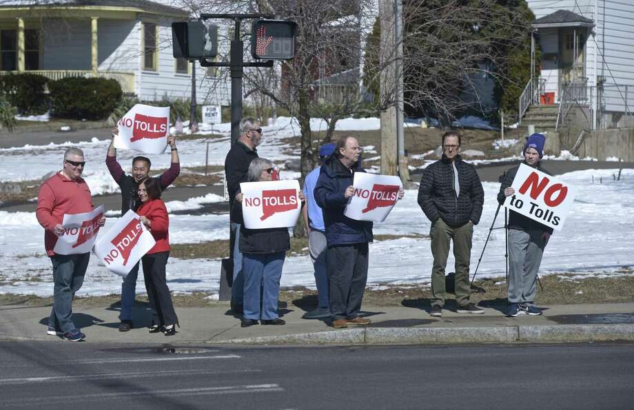 Stamford grassroots organization No Tolls Ct held an anti-toll protest at the White Street and Wildman Street intersection. Saturday, March 9, 2019, in Danbury, Conn. Photo: H John Voorhees III / Hearst Connecticut Media / The News-Times