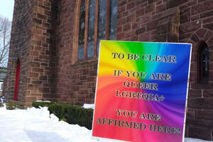 This sign posted in front of Mary Taylor Memorial United Methodist Church in Milford at the end of February went missing, and church officials initially thought it had been stolen. The sign states, 'To be clear if you are queer LGBTQIA+ you are affirmed here.' The sign was later found, and church leadership hopes it was the wind, and not vandals, that removed it.
