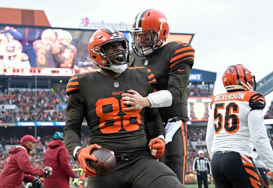 CLEVELAND, OH - DECEMBER 23:  Darren Fells #88 celebrates his touchdown with Baker Mayfield #6 of the Cleveland Browns during the second quarter against the Cincinnati Bengals at FirstEnergy Stadium on December 23, 2018 in Cleveland, Ohio. (Photo by Jason Miller/Getty Images) Photo: Jason Miller/Getty Images