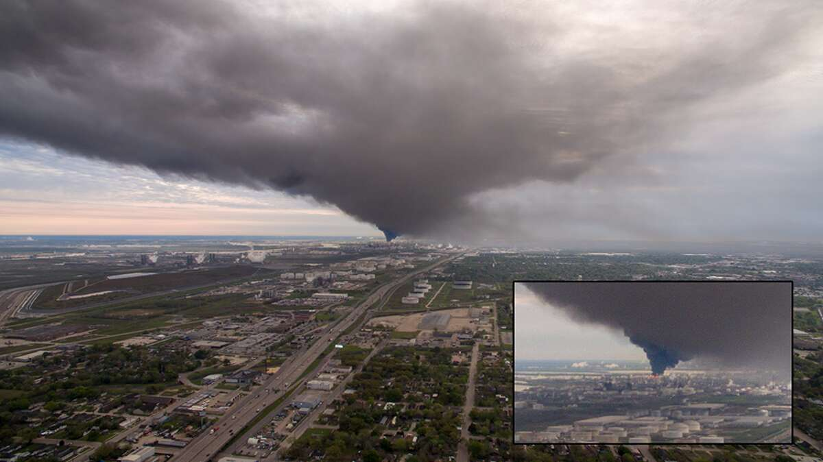 Drone footage shows the plume from the Deer Park plant fire, taken over Pasadena High School looking west.