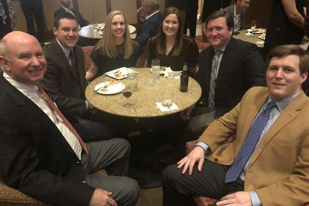 Petroleum Club: Allen Harvey, from left, Tyler and Stephanie Hill, Shelbi and Travis Cude and Hale Buckley