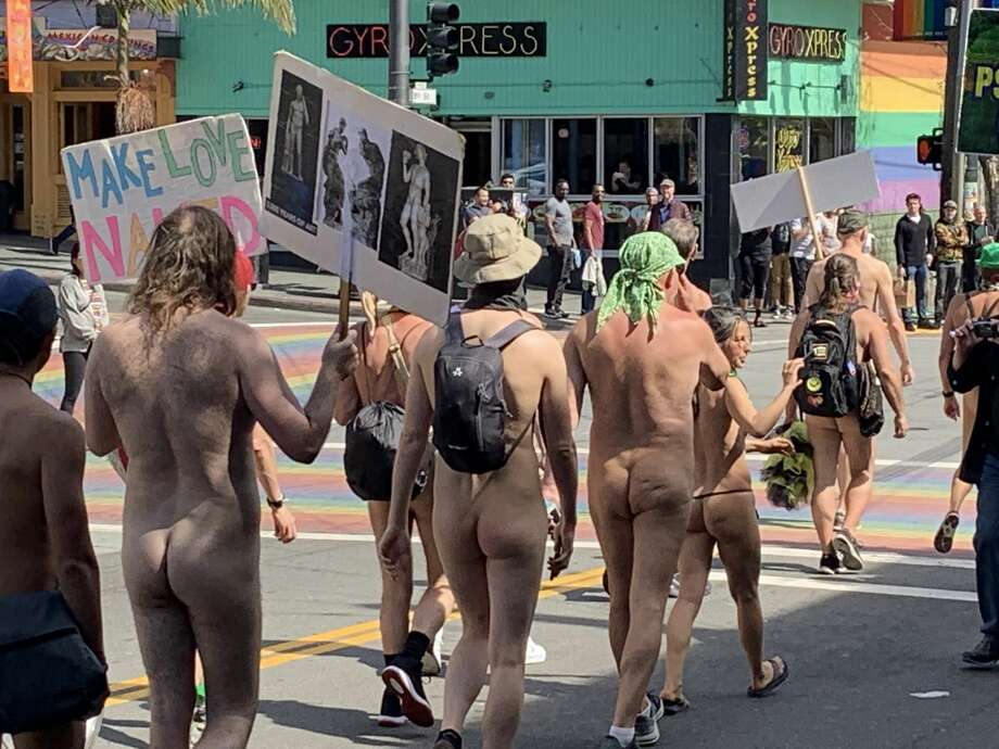 Three dozen people in the buff paraded around San Francisco on March 17, 2019, in the fourth-annual Nude Love Parade, celebrating the the human body and protesting the city's nudity ban. Photo: A. Graff