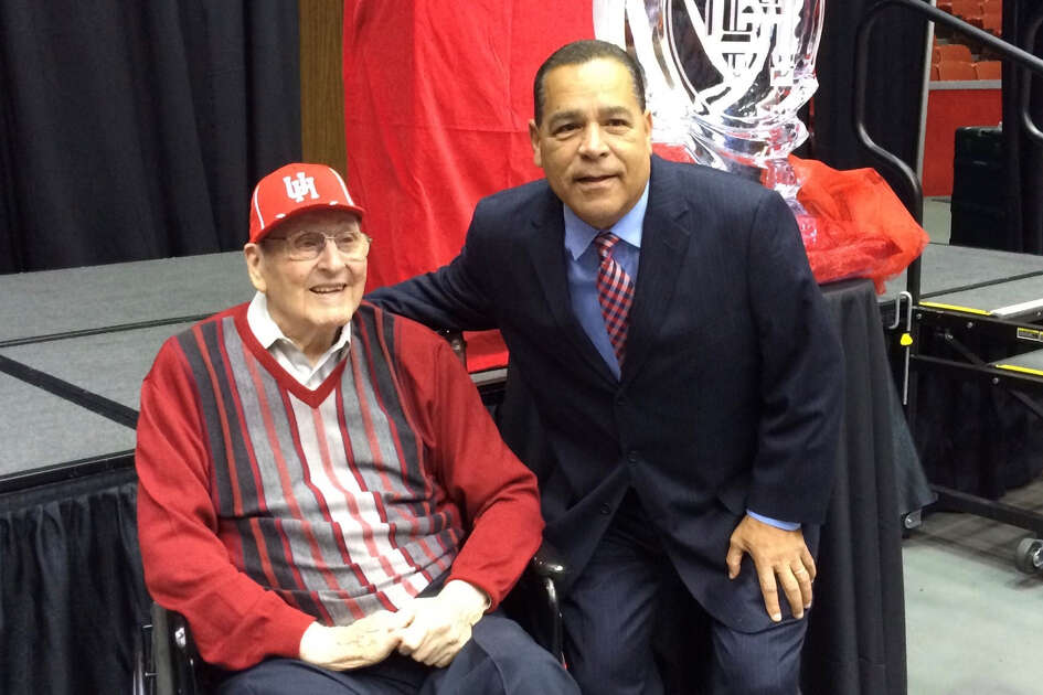 With its first outright conference championship since 1984 and a No. 3 seed in this year's NCAA tournament, Kelvin Sampson has started to restore the high standards for UH's basketball program established by the late Hall of Fame coach Guy V. Lewis, pictured here with Sampson in 2014.