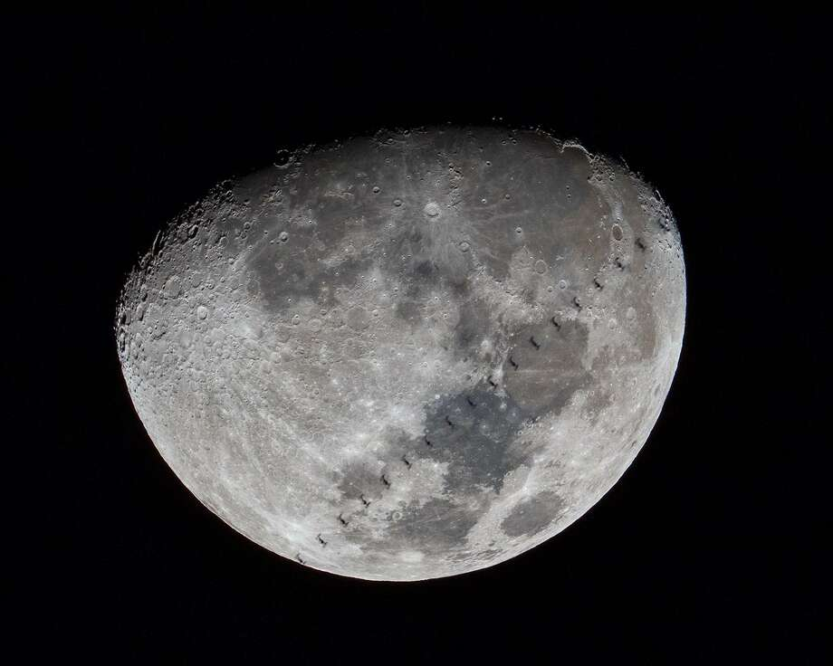The International Space Station crosses the face of the moon, March 16, 2019. Photo: Shannon Calvert / Westport Astronomical Society