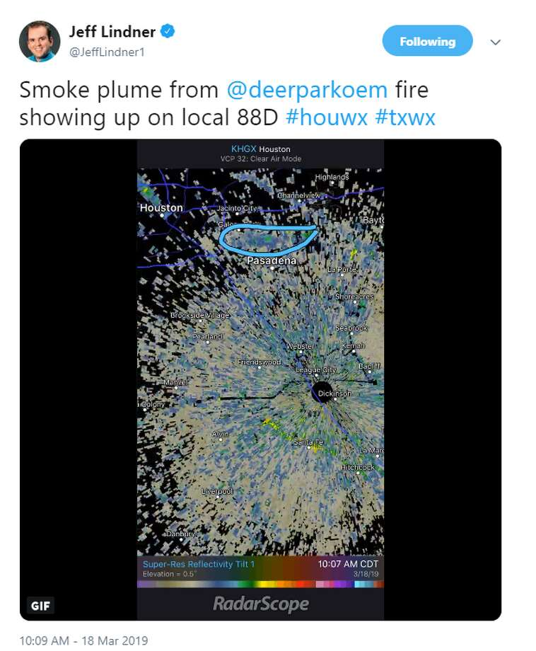 Meteorologist Jeff Lindner tweeted a photo Monday of radar images showing the plume of smoke billowing from a petrochemical fire at a facility in Deer Park.