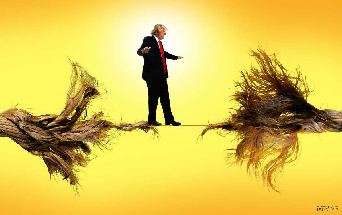 This artwork by M. Ryder refers to Donald Trumps chaotic presidency, which appears to be hanging by a thread.