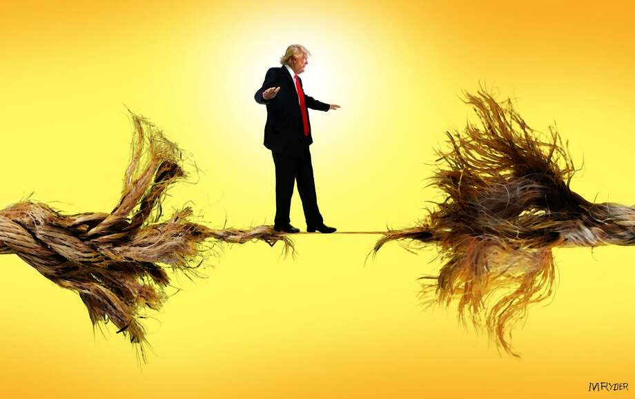 This artwork by M. Ryder refers to Donald Trump's chaotic presidency, which appears to be hanging by a thread. Photo: M. Ryder / Gino Santa Maria © 2007 All Rights Reserved