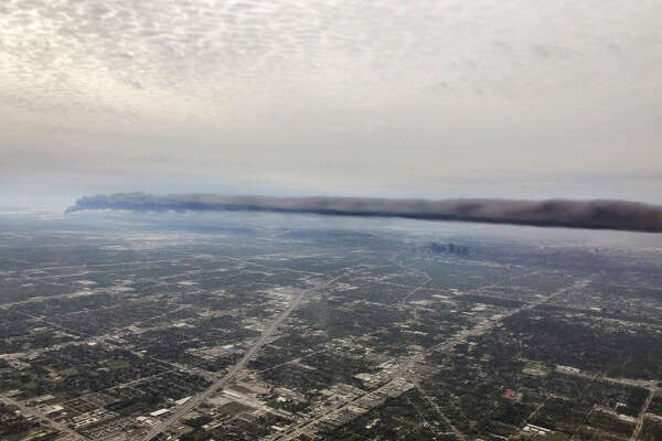 A photo taken by Josh McMillan shows an aerial view of the smoke from the Deer Park plant fire.