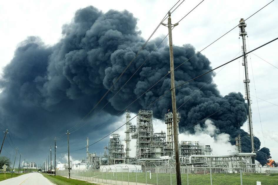 A plume of smoke from a petrochemical fire at Intercontinental Terminals Company in Deer Park has been burning since Sunday afternoon on Monday, March 18, 2019.