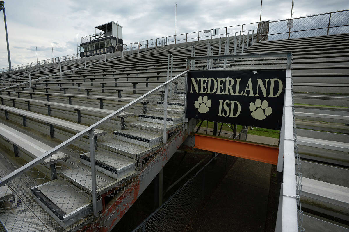 Nederland residents will get a chance to vote on two school bonds in May. The first is a $151.6 million plan that will be spent on elementary schools, middle schools, the high school and the football stadium. The second is a $4.5 million plan to renovate the stadium. Pictured is Nederland football stadium on Friday. Photo taken Friday, 3/15/19