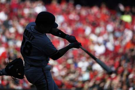 Silhouette of Buster Posey #28 of the San Francisco Giants as he bats during a game against the Cincinnati Reds at Great American Ball Park on May 7, 2017 in Cincinnati, Ohio. The Reds defeated the Giants 4-0.