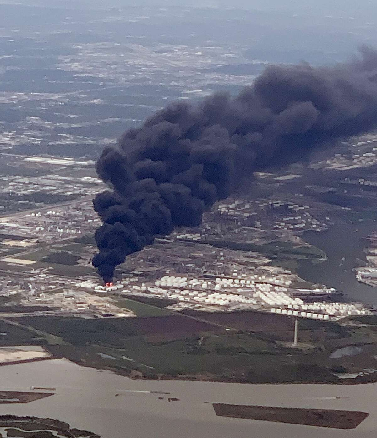Photo of a petrochemical fire at a Deer Park plant taken from United flight 1901 during it's descent into IAH on Monday, March 18, 2019.