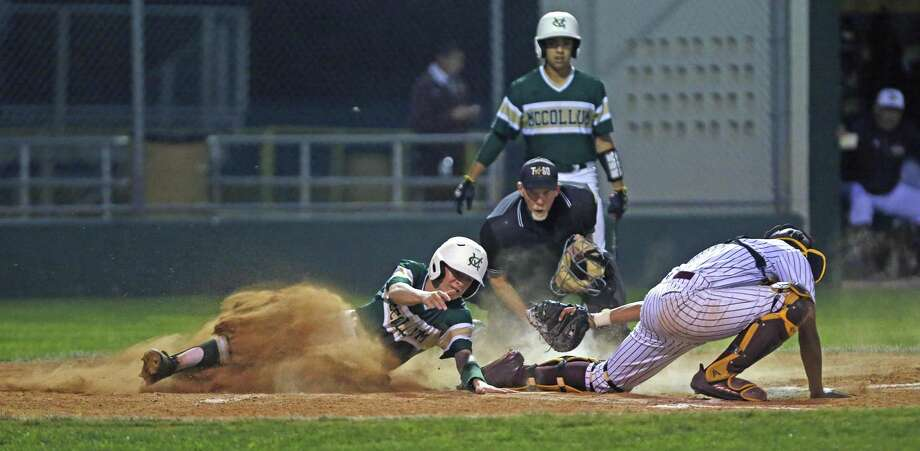 McCollum's Geonie Vasquez beats the tag from Harlandale's Christopher Perez during a game at the Tejeda Complex last season. Vasquez was instrumental in beating Harlandale on March 15; as starting pitcher, Vaquez struck out six and allowed just one hit in five innings in the 7-2 win. Photo: Ronald Cortes /Contributor / 2018 Ronald Cortes