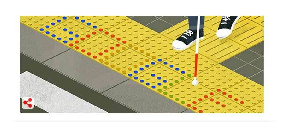 Monday's Google doodle recognized tenji blocks, which help those with visual impairments navigate busy streets and public areas. They were first installed in Okayama on March 18, 1967. Photo: Courtesy Google.com