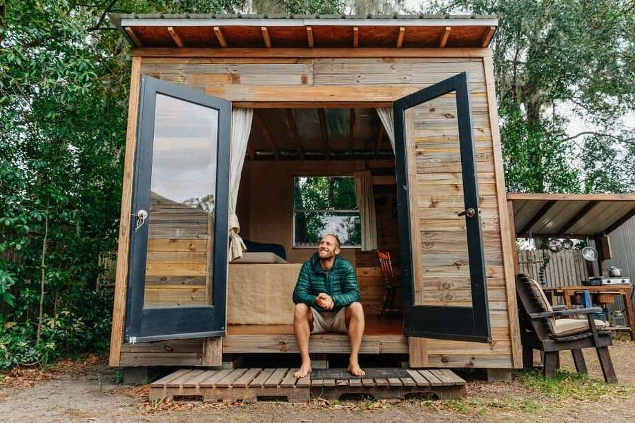 Rob Greenfield at his tiny home outside of Orlando.  Photo: Sierra Ford Photography