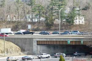 An accident backs up I-84 eastbound traffic in Danbury on March 18, 2019.