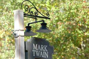 File photo of the Mark Twain Library sign.