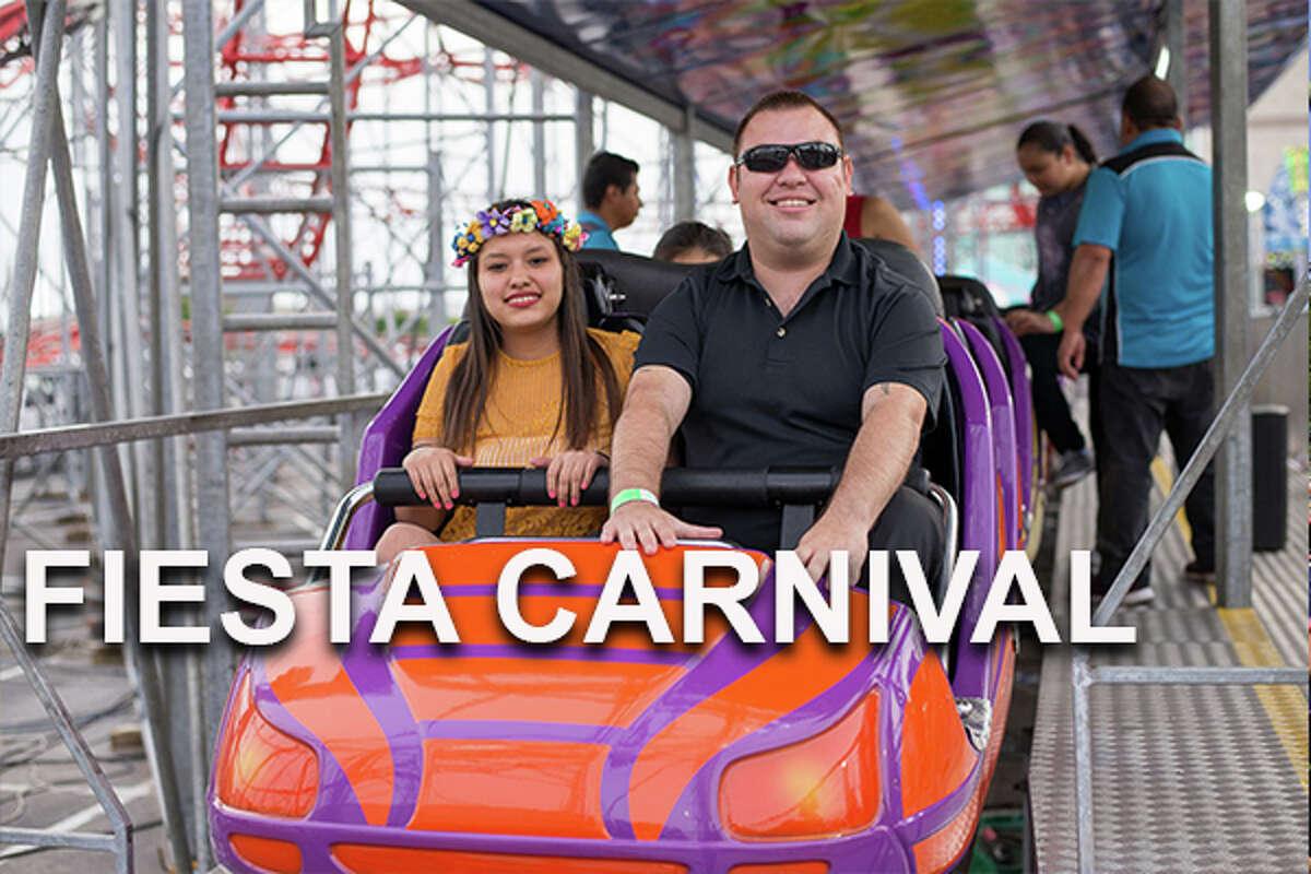 Fiesta Carnival Where: Alamodome Parking Lot C, 401-409 S Cherry St When: April 18, 6-11 p.m.; April 19, 5 p.m.-12 a.m.; April 20, 11 a.m.-12 a.m.; April 21, 11 a.m.- 11 p.m.; April 23-25, 5 p.m.-12 a.m.; April 26-27, 11 a.m.-12 a.m.; April 28, 11 a.m.-11 p.m. Tickets: Free