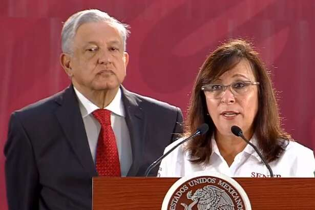 In an early Monday afternoon press conference, President Andres Manuel Lopez-Obrador, left, and Mexican Secretary of Energy Rocio Nahle, right, released bidding documents for the new Dos Bocas Refinery in Tabasco.