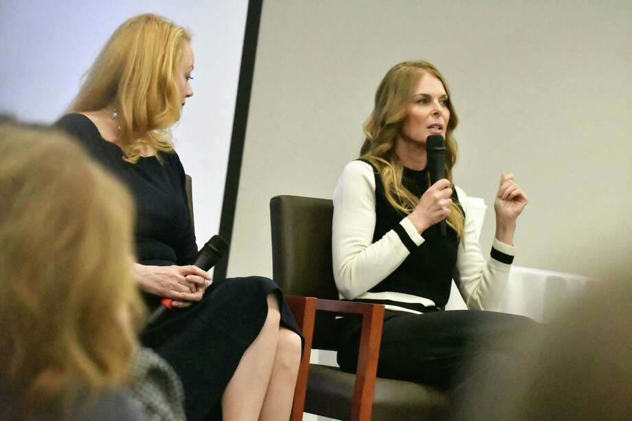"Barbara Bouchey, former NXIVM member and girlfriend of  Keith Raniere, left, and Catherine Oxenberg, ""Dynasty"" actress who fought to save her daughter from the group, right, speak during a NXIVM pre-trial talk on Monday, March 18, 2019, at the Hearst Media Center in Colonie, N.Y. (Will Waldron/Times Union) Photo: Will Waldron, Albany Times Union / 40046460A"