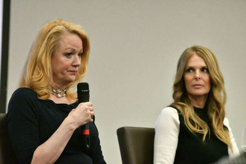 Barbara Bouchey, former NXIVM member and girlfriend of Keith Raniere, left, and Catherine Oxenberg,