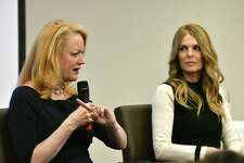 "Barbara Bouchey, former NXIVM member and girlfriend of Keith Raniere, left, and Catherine Oxenberg, ""Dynasty"" actress who fought to save her daughter from the group, right, speak during a NXIVM pre-trial talk on Monday, March 18, 2019, at the Hearst Media Center in Colonie, N.Y. (Will Waldron/Times Union)"