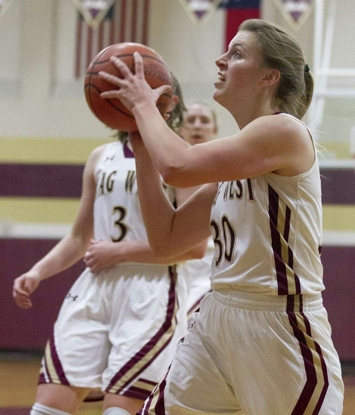 Magnolia West power forward Hannah Eggleston (30) looks to shoot during the first quarter of a District 19-5A high school basketball game at Magnolia West High School, Tuesday, Jan. 15, 2019, in Magnolia.