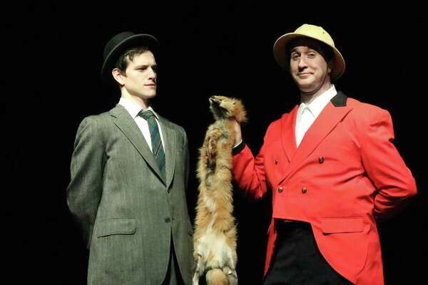 """Dan Fay, left, and Michael Wright (who plays eight characters) rehearse a scene for Curtain Call's production of """"A Gentleman's Guide to Love and Murder,"""" onstage at Stamford's Kweskin Theatre, March 29 through April 27."""