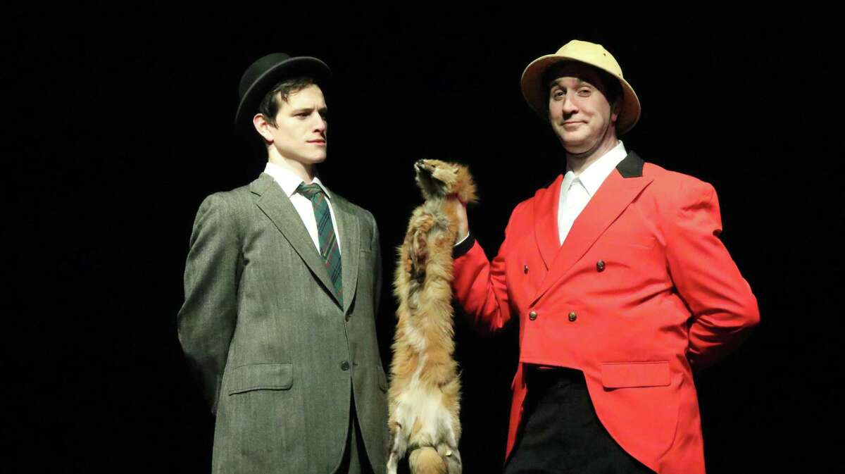 Dan Fay, left, and Michael Wright (who plays eight characters) rehearse a scene for Curtain Call's production of