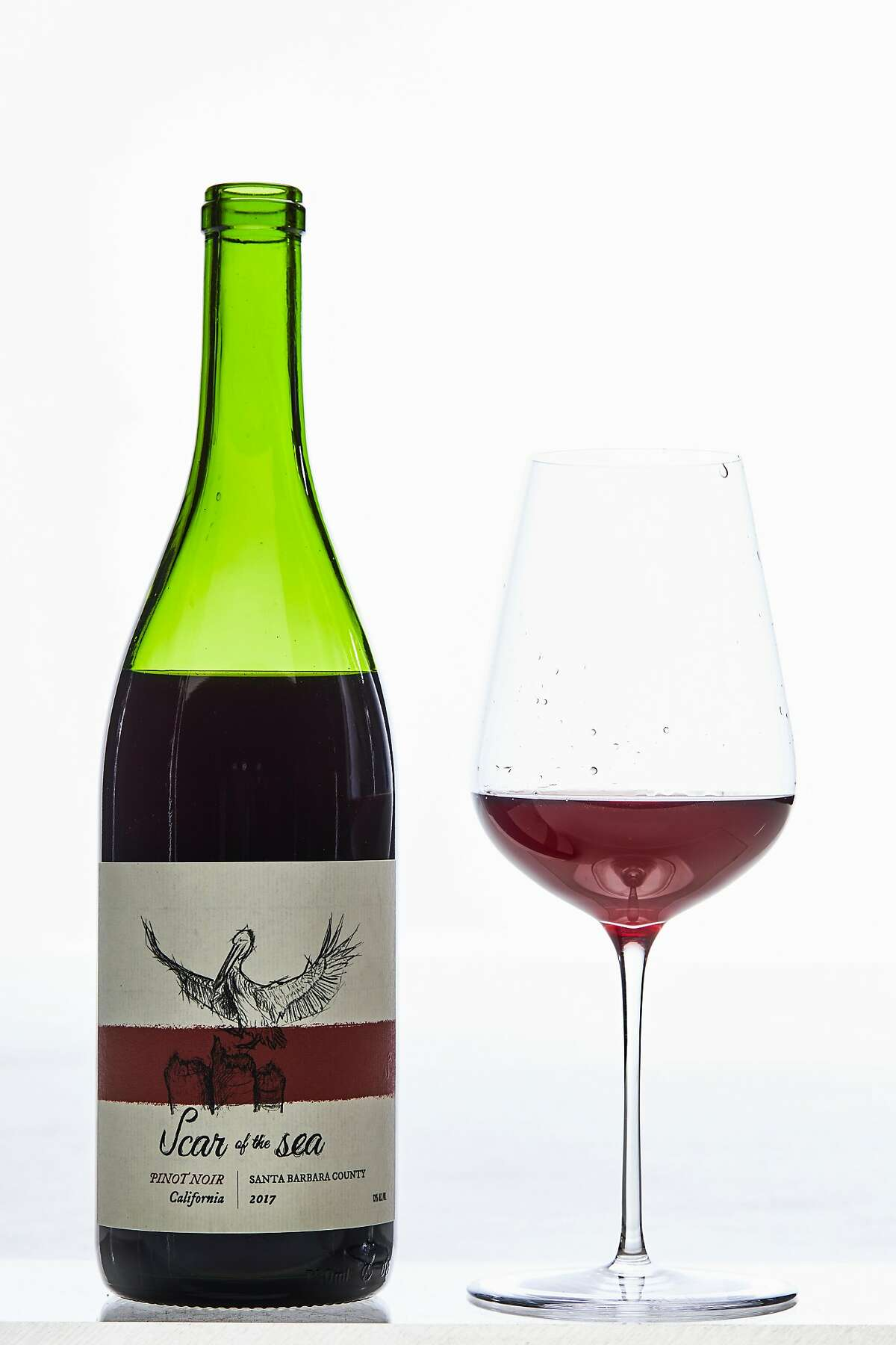 Scar of the Sea Pinot Noir is seen on Thursday, March 14, 2019 in San Francisco, Calif. A new trend in California wines is �translucent reds� which are lighter and brighter than traditional reds.