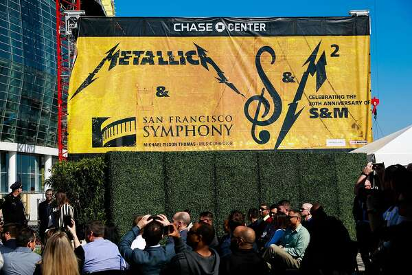 Warriors president and COO Rick Welts (not pictured) unveiled a banner while announcing Metallica as the first performer at the Chase Center in San Francisco, Calif., on Monday March 18, 2019.