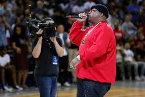 Rapper E-40 performs during Week 3 Game 3 of the BIG3 at Oracle Arena, Friday, July 6, 2018, in Oakland, Calif. BIG3 is a 3-on-3 pro basketball league featuring NBA Hall of Famers and current NBA players.