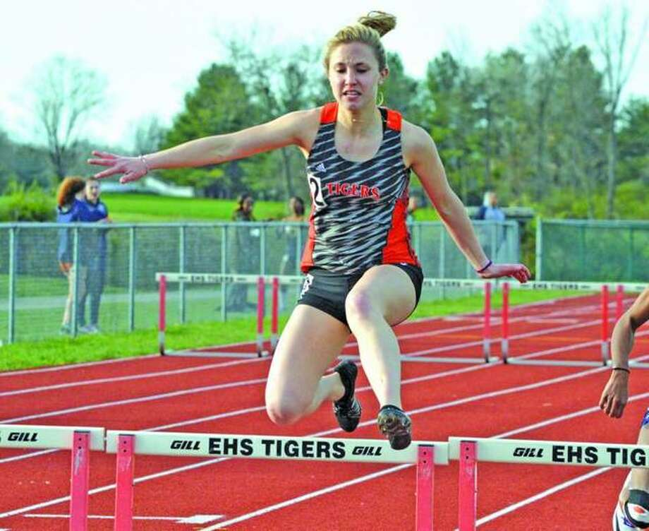 Edwardsville's Elise Krone competes in the 300-meter hurdles during last year's Tiger Invite at the Winston Brown Track and Field Complex. Photo: Scott Marion/Intelligencer