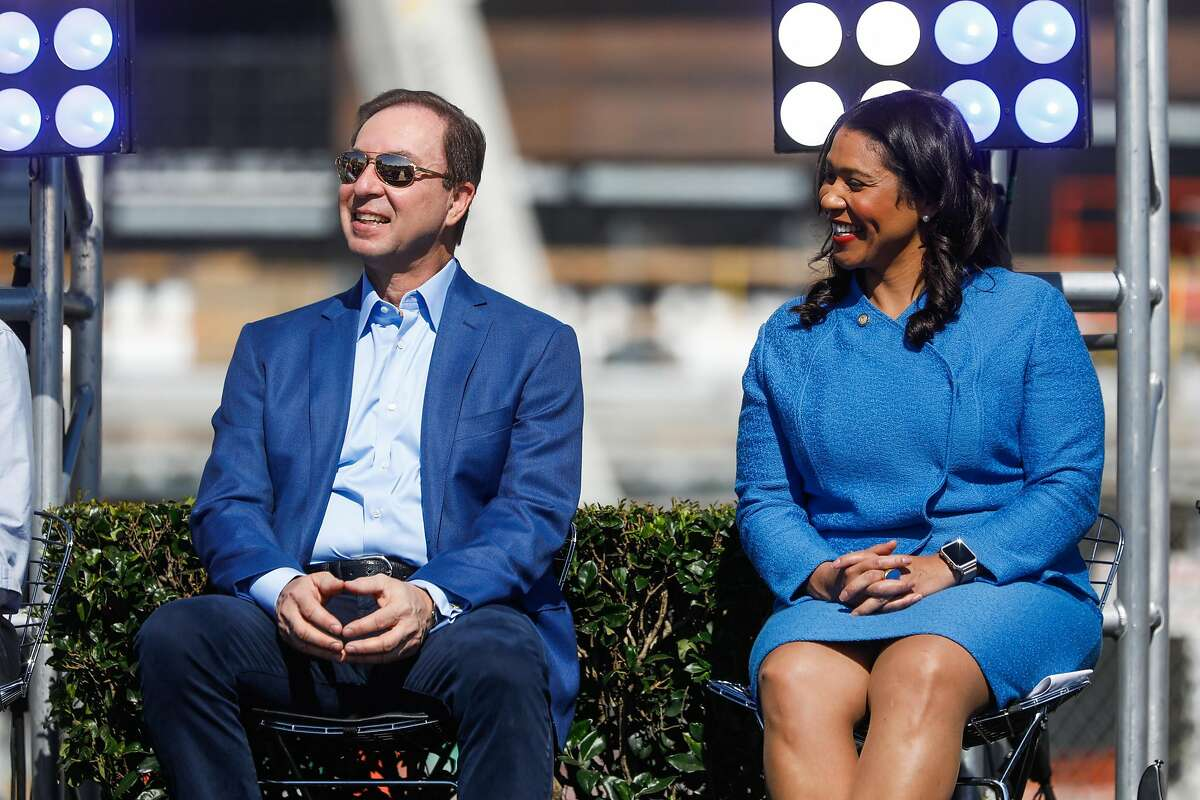 (l-r) Golden State Warriors owner Joe Lacob, and Mayor London Breed laugh during a press conference which announced Metallica as the first performer at the Chase Center in San Francisco, Calif., on Monday March 18, 2019.