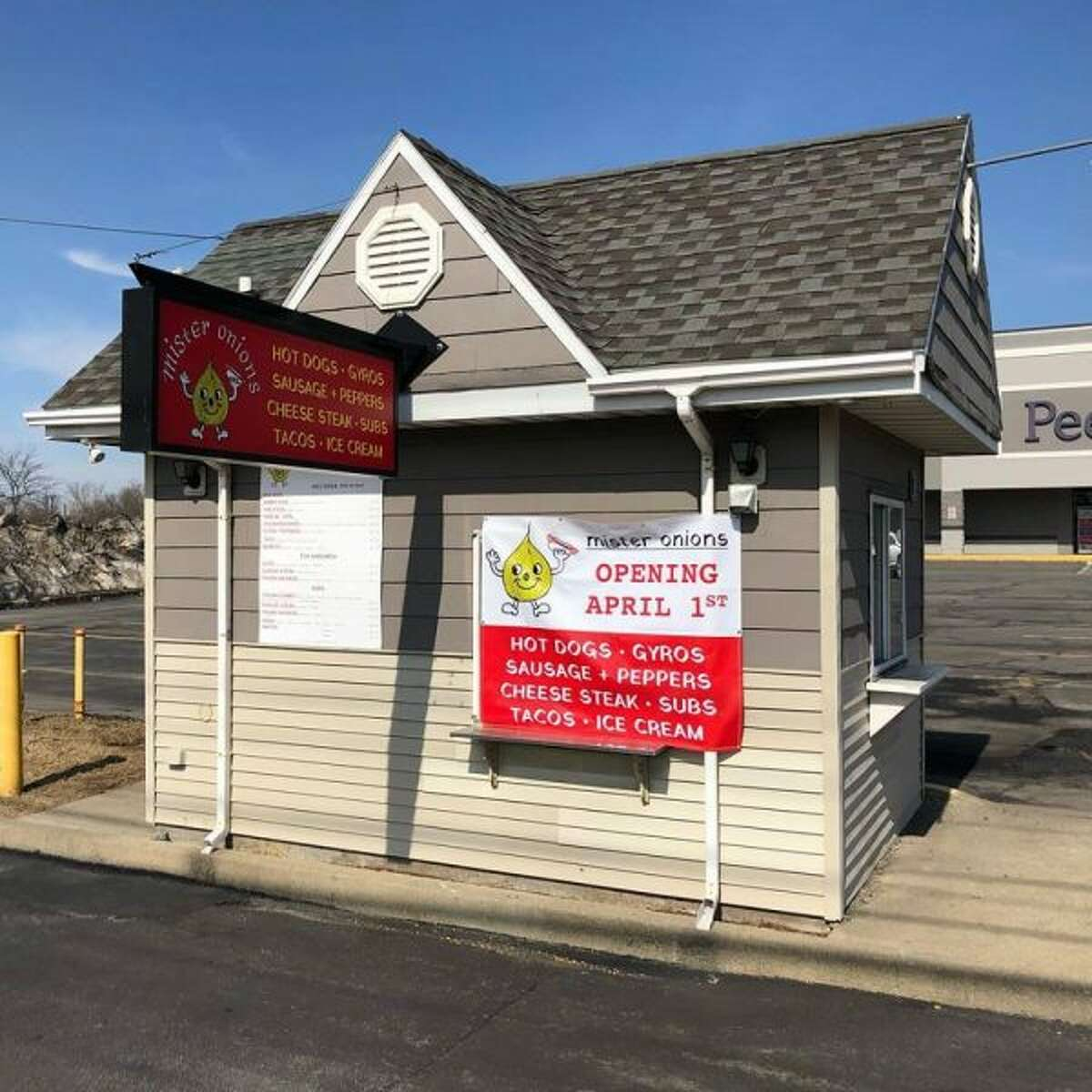 A little takeout hut in the parking lot of the Columbia Plaza strip mall in East Greenbush is being redeveloped as Mister Onions, with an opening scheduled for April 1, 2019.