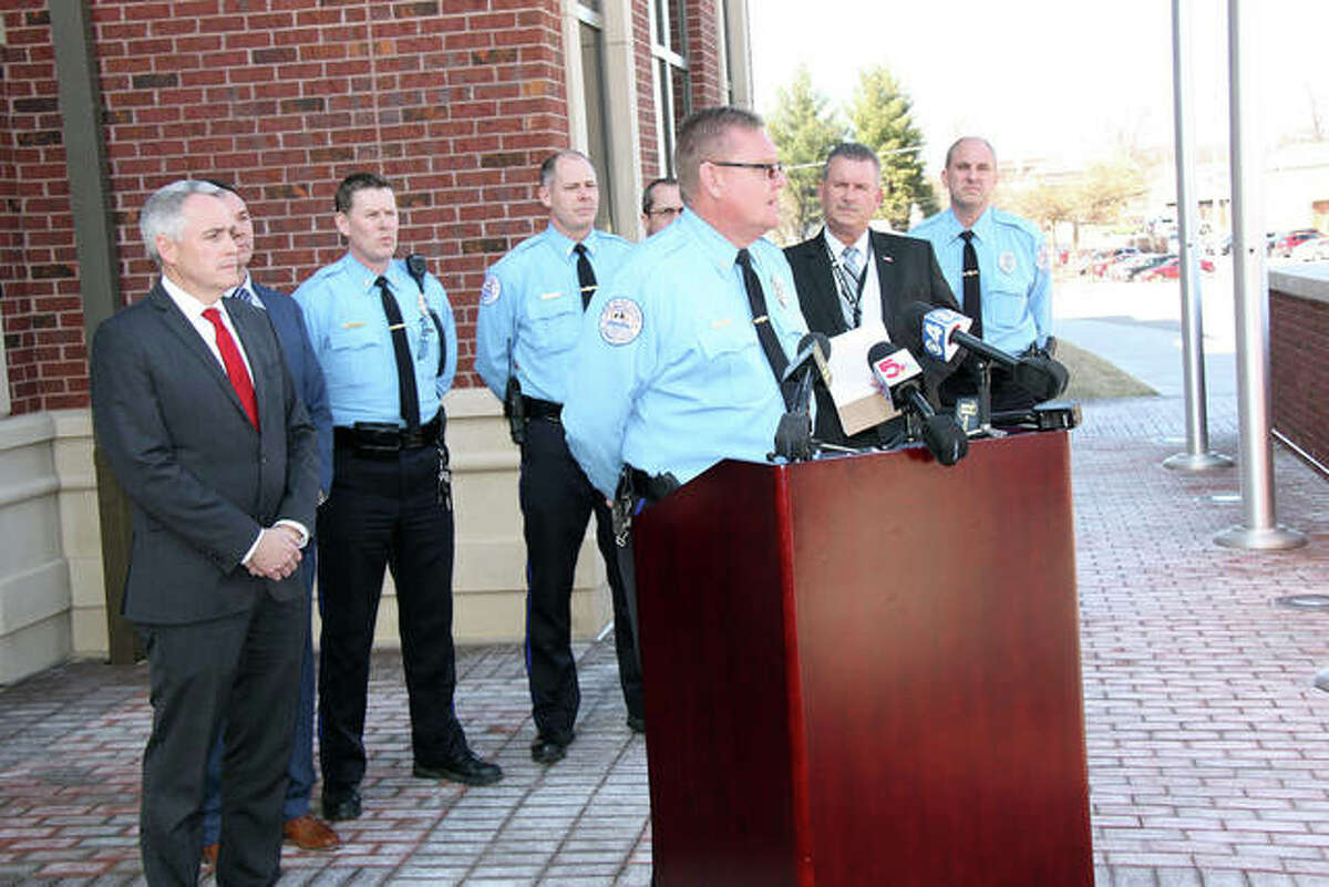 FILE - Edwardsville Police Chief Jay Keeven opens a press conference at the Public Safety Building.