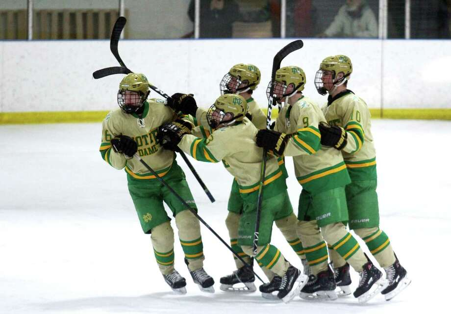 The Notre Dame-West Haven boys hockey team has won five straight and will face Fairfield Prep in the Division I championship game on Tuesday at Ingalls Rink in New Haven. Photo: Christian Abraham / Hearst Connecticut Media / Connecticut Post