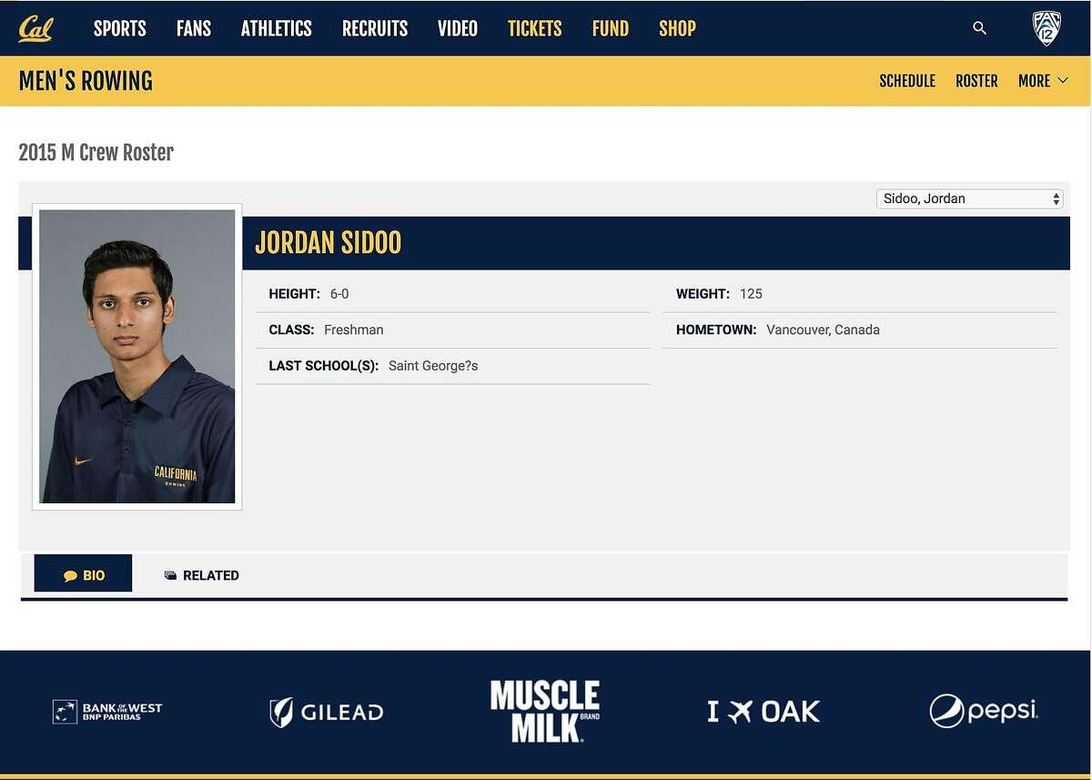 A screen capture of the UC Berkeley Men's Rowing website shows 2015 Men's Rowing Crew member Jordan Sidoo