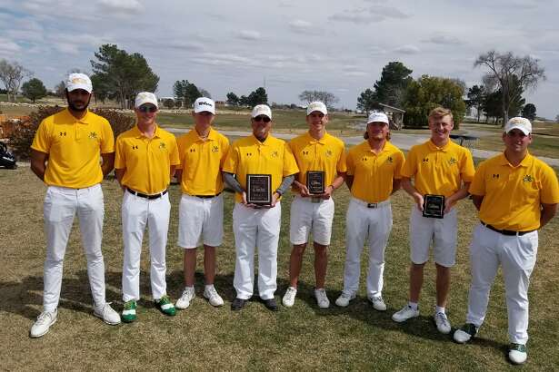 The Midland College men's golf team poses after winning the NMJC Thunderbird Invitational on Monday at Rockwind Community Links in Hobbs, N.M., by nine shots.