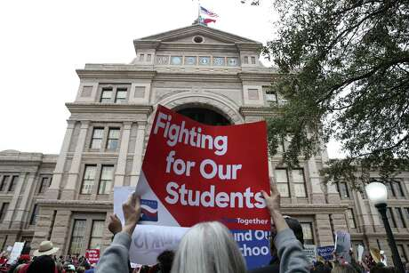 More than a thousand teachers and support staff from throughout Texas gather at the state Capitol for a rally in support of public education funding on  March 11, 2019.