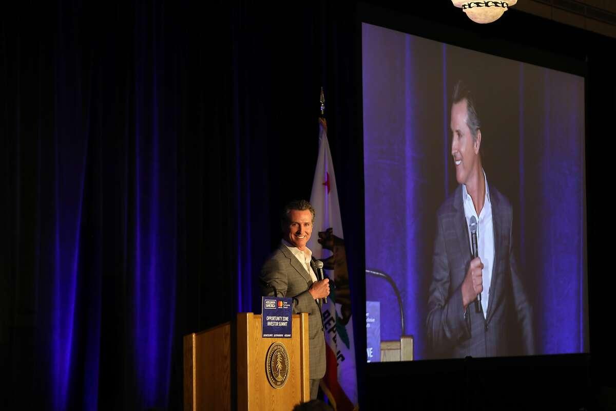 California Gov. Gavin Newsom speaks about the Opportunity Zones